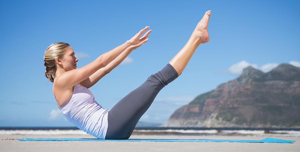 pilates blond woman
